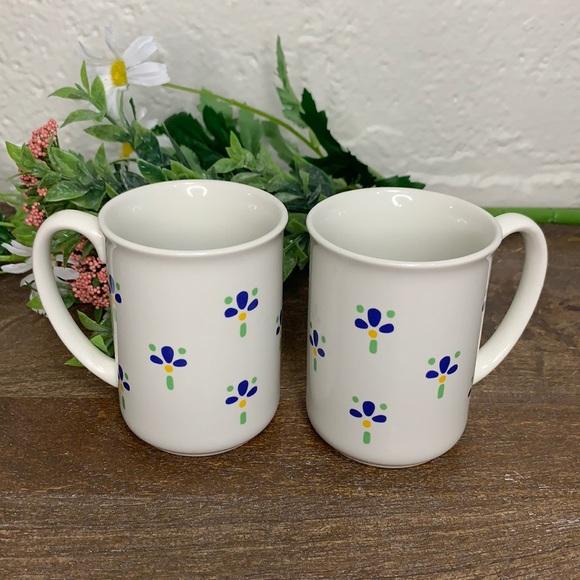 Vintage Small Blue Flower Stoneware Mugs- Set 2